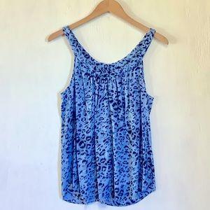 REBECCA TAYLOR Animal Blue Print Summer Tank Top 6